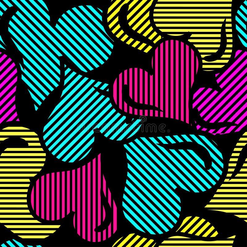 Psychedelische harten op een zwart geometrisch abstract patroon als achtergrond stock illustratie