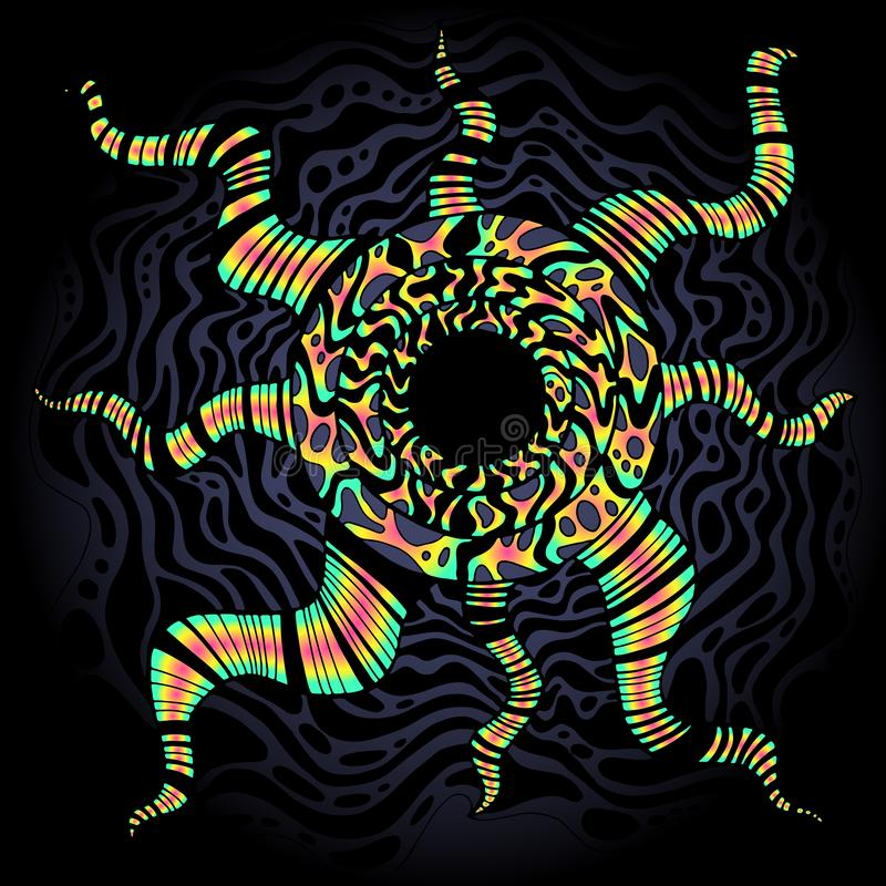 Psychedelische heldere surreal krabbelachtergrond Kleurrijk abstract decoratief kader Vector hand getrokken textuur royalty-vrije illustratie