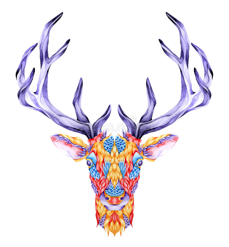 Psychedelische herten hoofdtatoegering vector illustratie