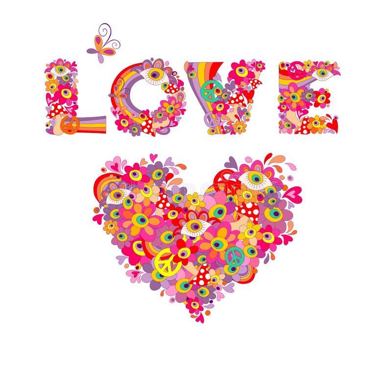 Psychedelische Hippieherzform und Liebesbeschriftung mit bunten abstrakten Blumen, Friedenssymbol, Augen und Fliegenpilz iIsolate stock abbildung