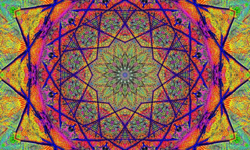 Psychedelische Kunst: Zeer kleurrijke mandala stock illustratie