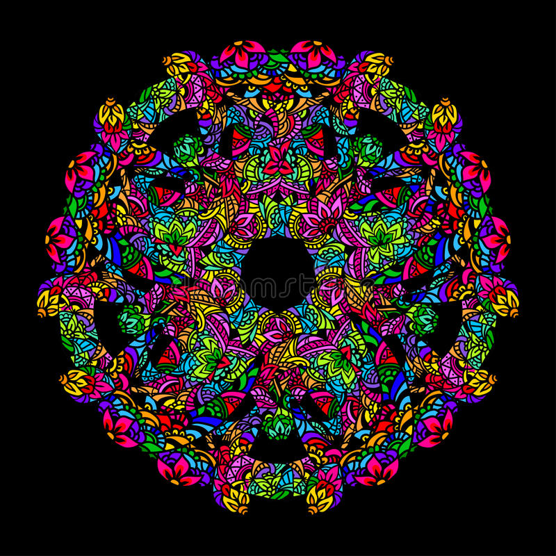 Psychedelische mandalaronde royalty-vrije illustratie