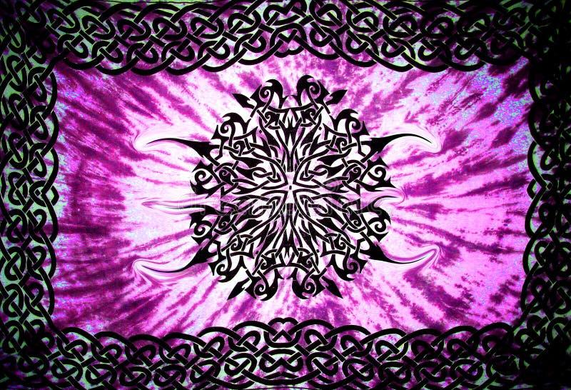 Psychedelische samenvatting in purper en zwart ontwerpbehang als achtergrond stock foto's