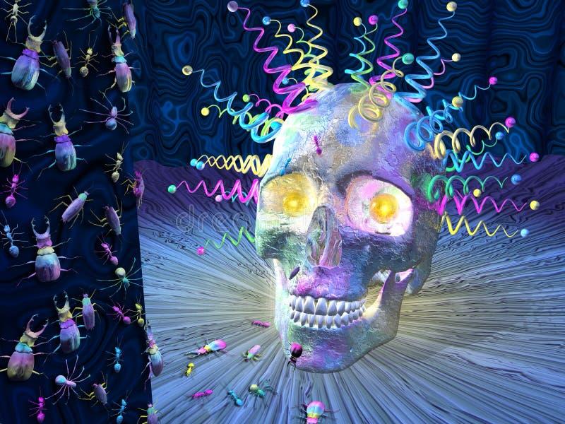 Psychedelische Schedel En Insecten Stock Afbeelding