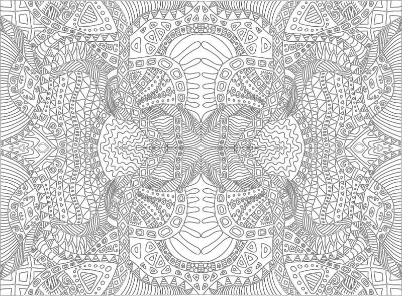 Psychedelische stammen surreal krabbel kleurende pagina Patroon van de hippie het abstracte meditatie, labyrint van ornamentenach royalty-vrije illustratie