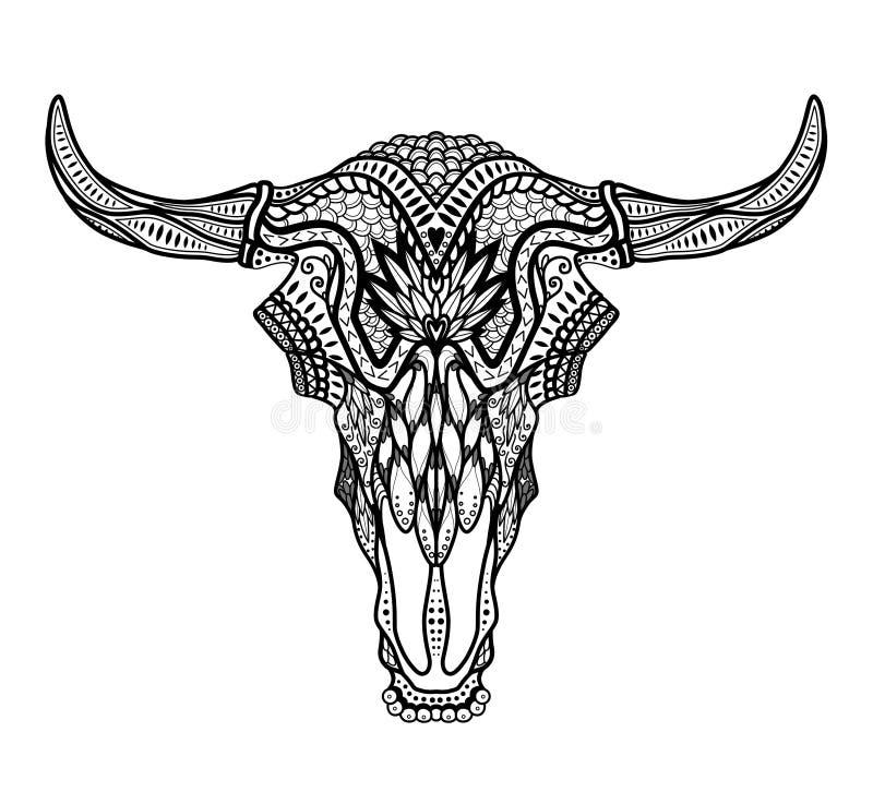Psychedelische Stier/auroch schedel met hoornen op witte achtergrond royalty-vrije illustratie