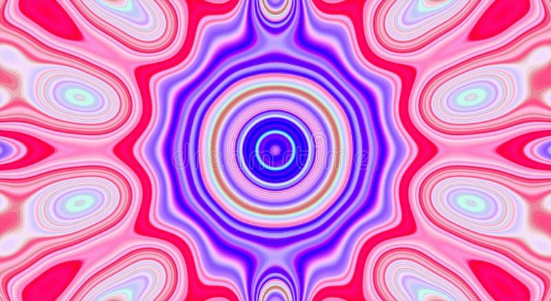 Psychedelische symmetrie abstract patroon en hypnotic achtergrond, achtergrondornament stock illustratie