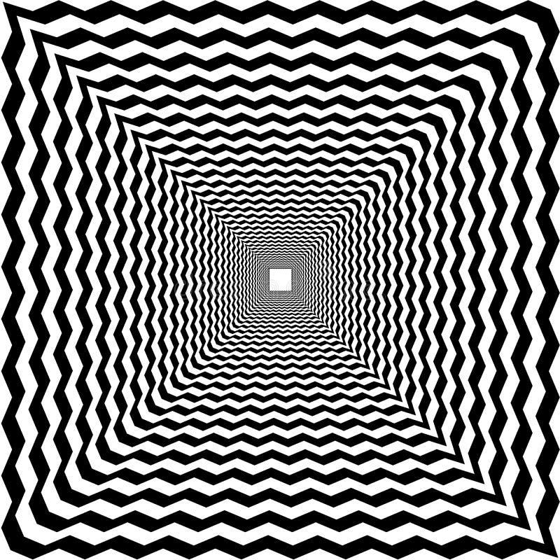 Psychedelische tunnel, zwart-witte abstracte optische achtergrond, royalty-vrije illustratie