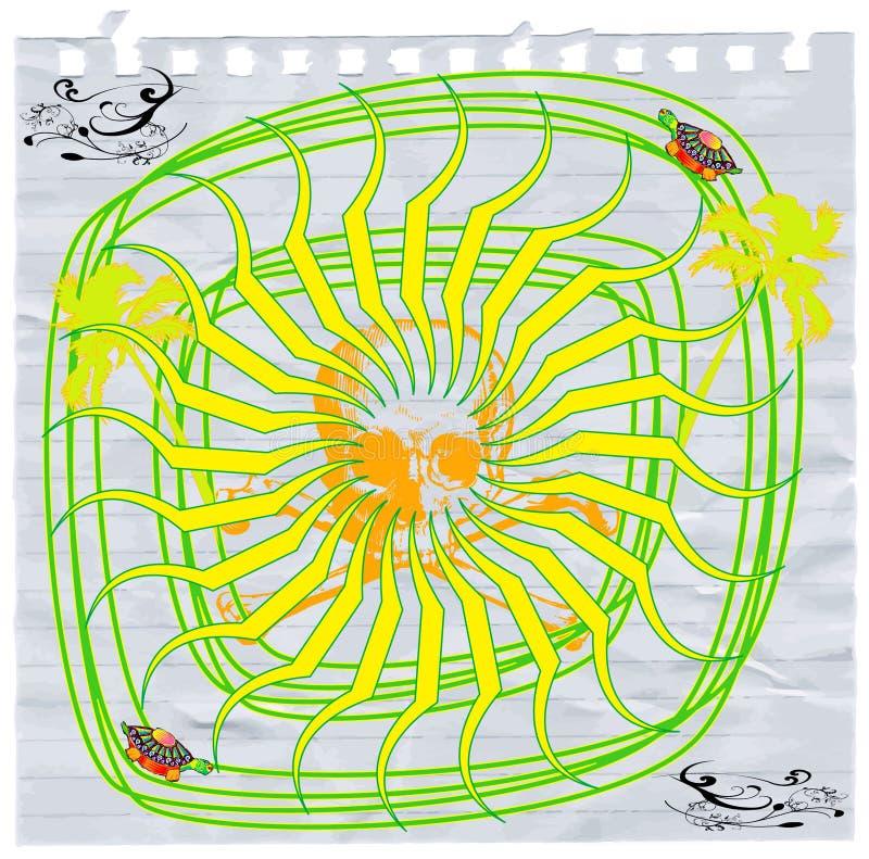 Psychedelische zon en schedel stock illustratie