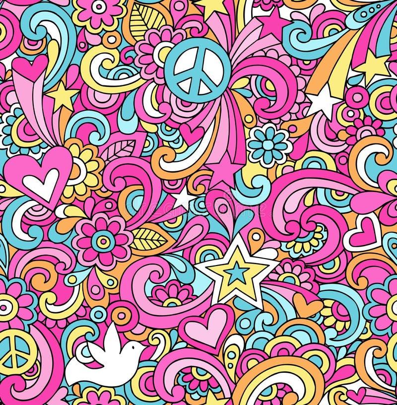 Psychedelischer Frieden kritzelt nahtloses Muster stock abbildung