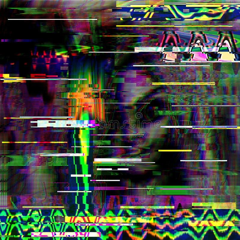 Psychedelischer Hintergrund des Störschubs Alter Fernsehschirmfehler Digital-Pixelgeräusch-Zusammenfassungsdesign Computerwanze F lizenzfreie stockfotos