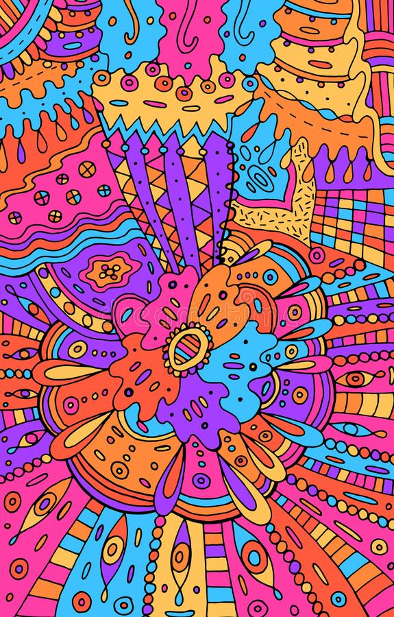 Psychedelisches buntes abstraktes Rosa und blauer Hintergrund Gekritzelmusterzeichnung Stammes- Beschaffenheit mit Blumen Auch im lizenzfreie abbildung