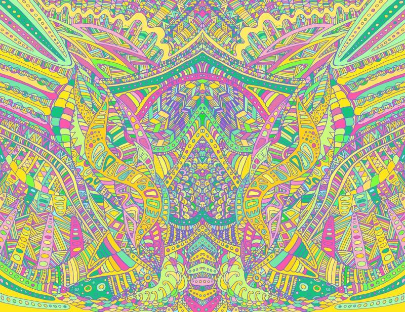 Psychedelisches buntes symmetrisches Muster des Regenbogens Dekorative Beschaffenheit der Fantasiezusammenfassung mit Gekritzella vektor abbildung