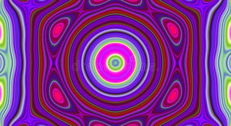 Psychedelisches Symmetriezusammenfassungsmuster und hypnotischer Hintergrund, Entwurfstapete stock abbildung