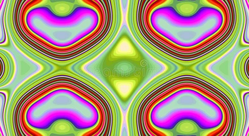 Psychedelisches Symmetriezusammenfassungsmuster und hypnotischer Hintergrund, helles kreatives lizenzfreie abbildung