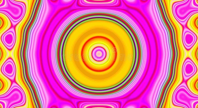 Psychedelisches Symmetriezusammenfassungsmuster und hypnotischer Hintergrund, Plakat stock abbildung