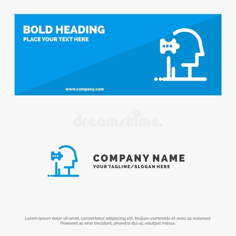 Psychiatrie, Psychologie, Oplossing, de Websitebanner en Zaken Logo Template van het Oplossingen Stevige Pictogram stock illustratie