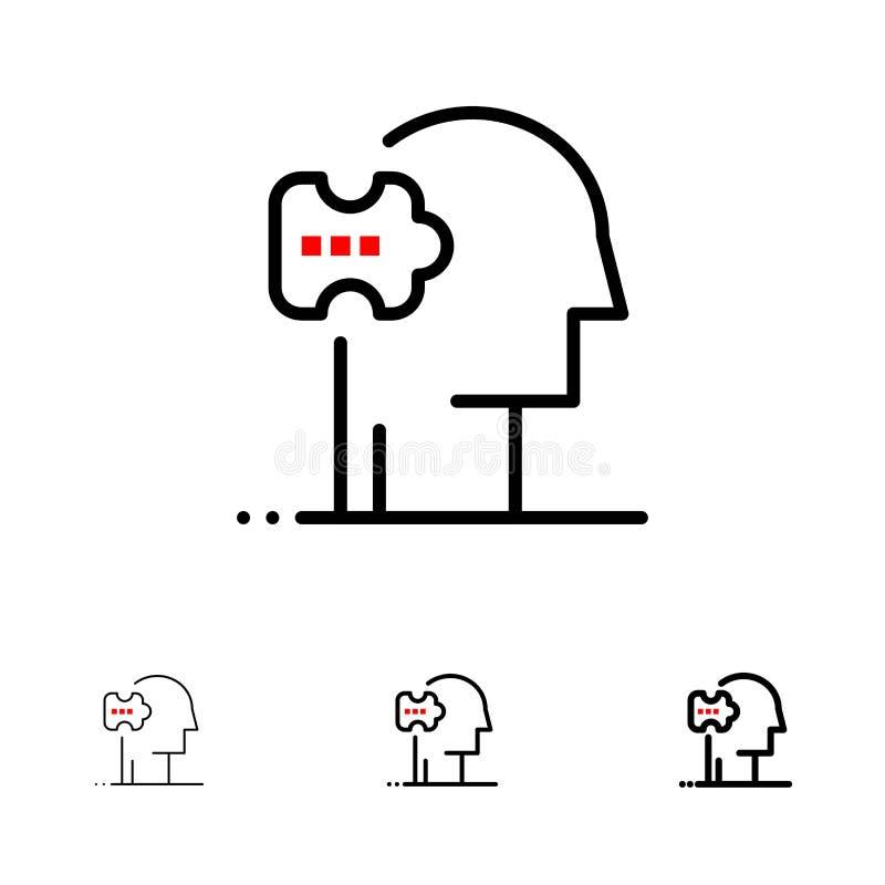 Psychiatrie, psychologie, solution, solutions audacieuses et ligne noire mince ensemble d'icône illustration libre de droits
