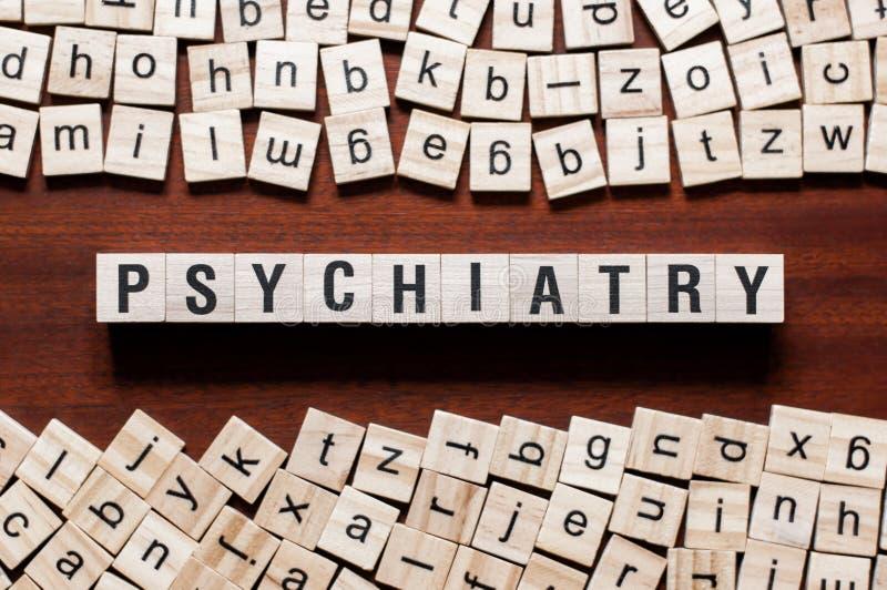 Psychiatrii słowa pojęcie na sześcianach fotografia stock