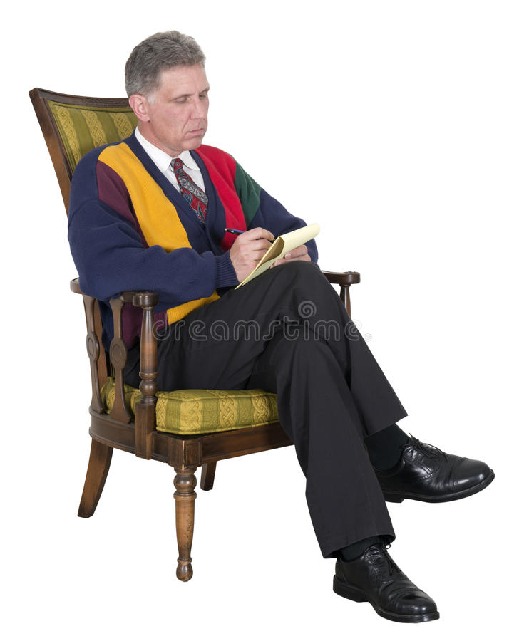 Psychiatrist, Shrink, Doctor, Counselor, Therapist. Man or male that portrays a psychiatrist, shrink, doctor, counselor, or therapist. Providing counseling royalty free stock photography