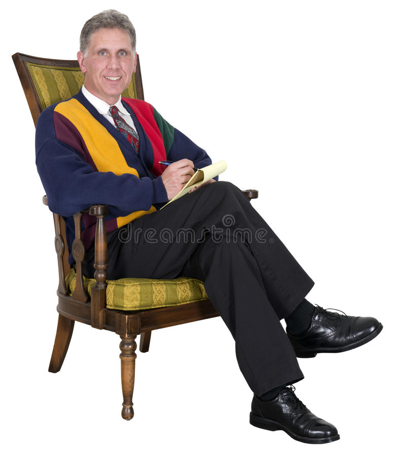 Psychiatrist, Shrink, Doctor, Counselor, Therapist. Man or male that portrays a psychiatrist, shrink, doctor, counselor, or therapist. Providing counseling stock photography
