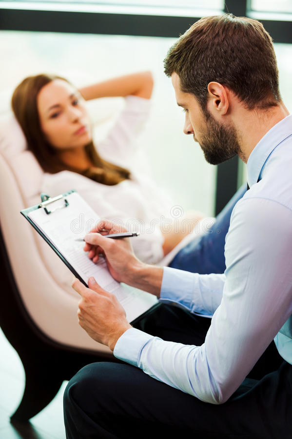 Psychiatrist at work. stock images