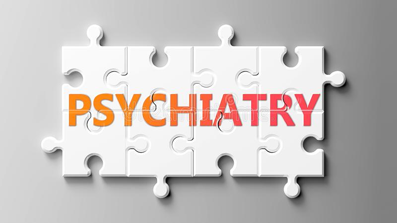 Psychiatry complex like a puzzle - pictured as word Psychiatry on a puzzle pieces to show that Psychiatry can be difficult and royalty free illustration