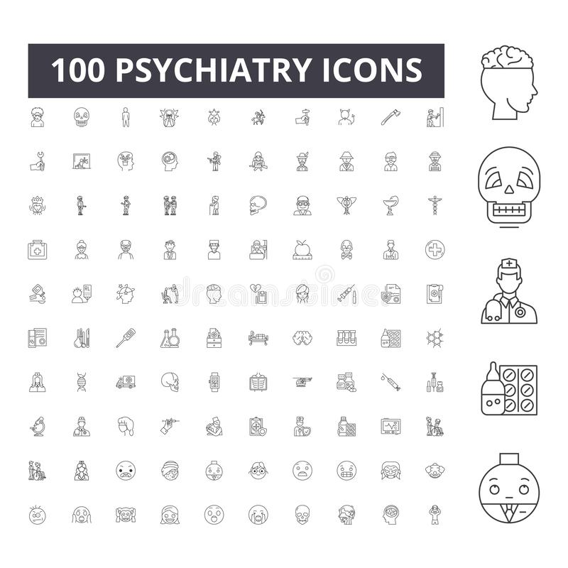 Psychiatry line icons, signs, vector set, outline illustration concept vector illustration