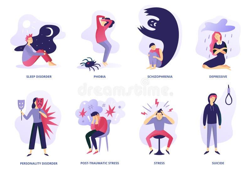 Psychiatryczna choroba Zaburzenia psychiczne, paranoi uczucie i panika problem, Psychiczni illnesses i nieład wektorowi ilustracja wektor