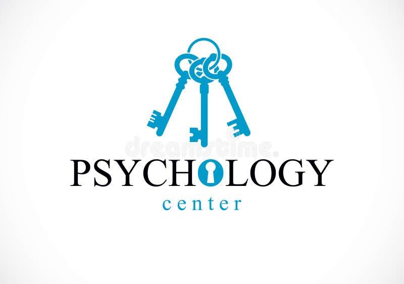 Psychische Gesundheit und Psychologiebegriffslogo oder -ikone, Psychoanalyse und Psychotherapie als Schlüssel zum Menschenverstan lizenzfreie abbildung
