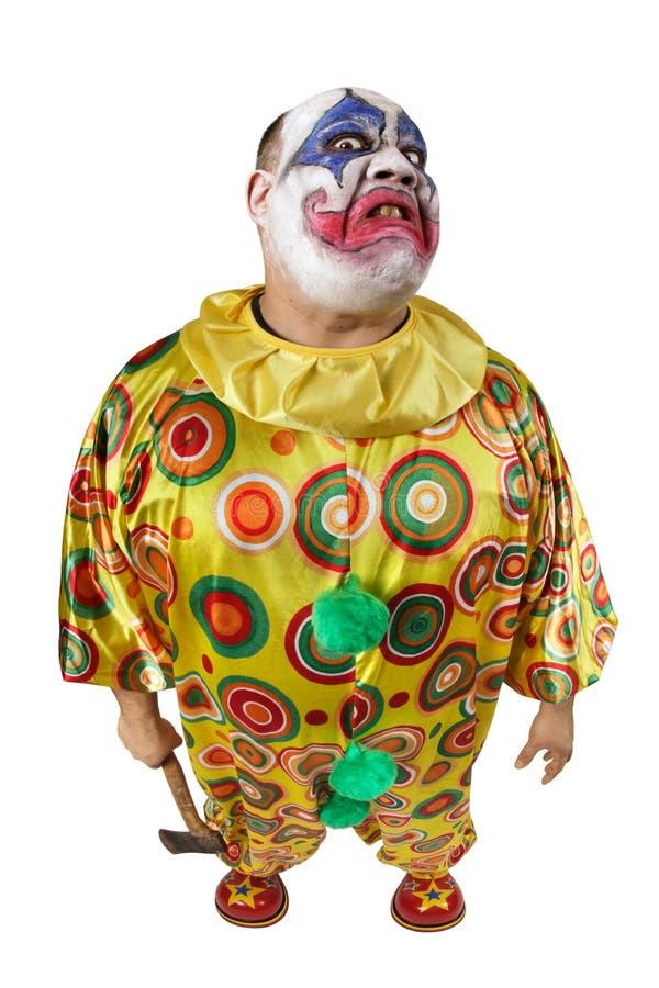 Psycho clown met bijl stock fotografie