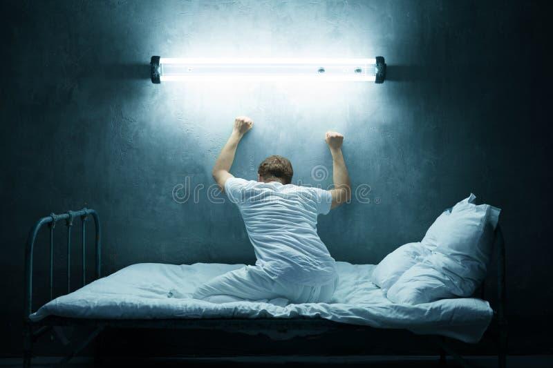 Psycho Man Alone In Bed, Dark Room, Hospital Stock Photo ...