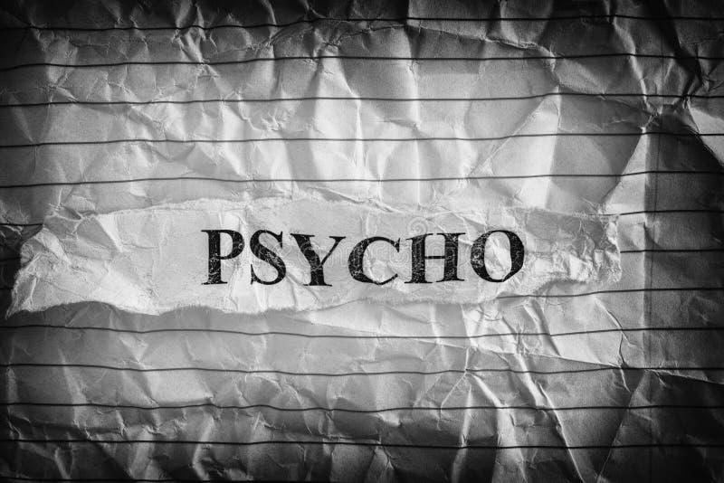 Psycho Morceau de papier déchiré avec le mot Psycho photos libres de droits