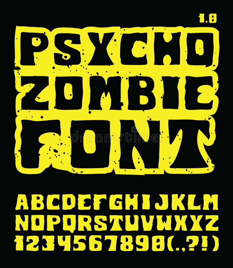 Psycho Zombie Font Royalty Free Stock Images