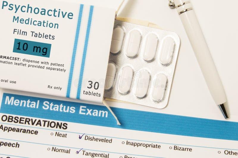 Psychoactive leki lub lekarstwa Kocowania pudełko z bąblem który jest imieniem Antidepressant leków kłamstwa obok res lekarstwa, zdjęcia stock