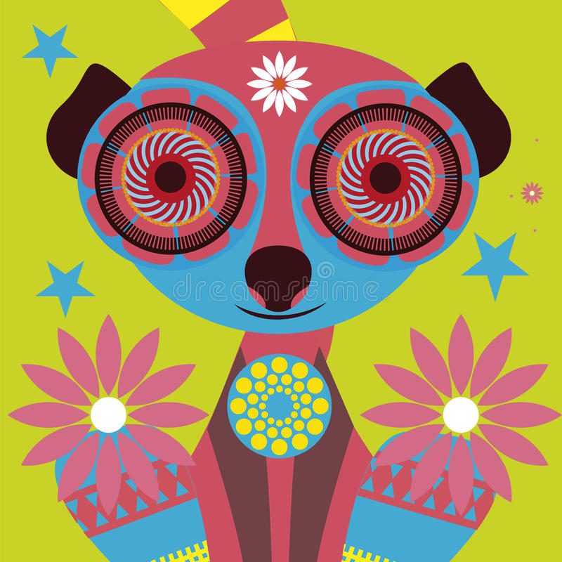 Psychodelic Portrait Of A Charming Lemur Royalty Free Stock Photo