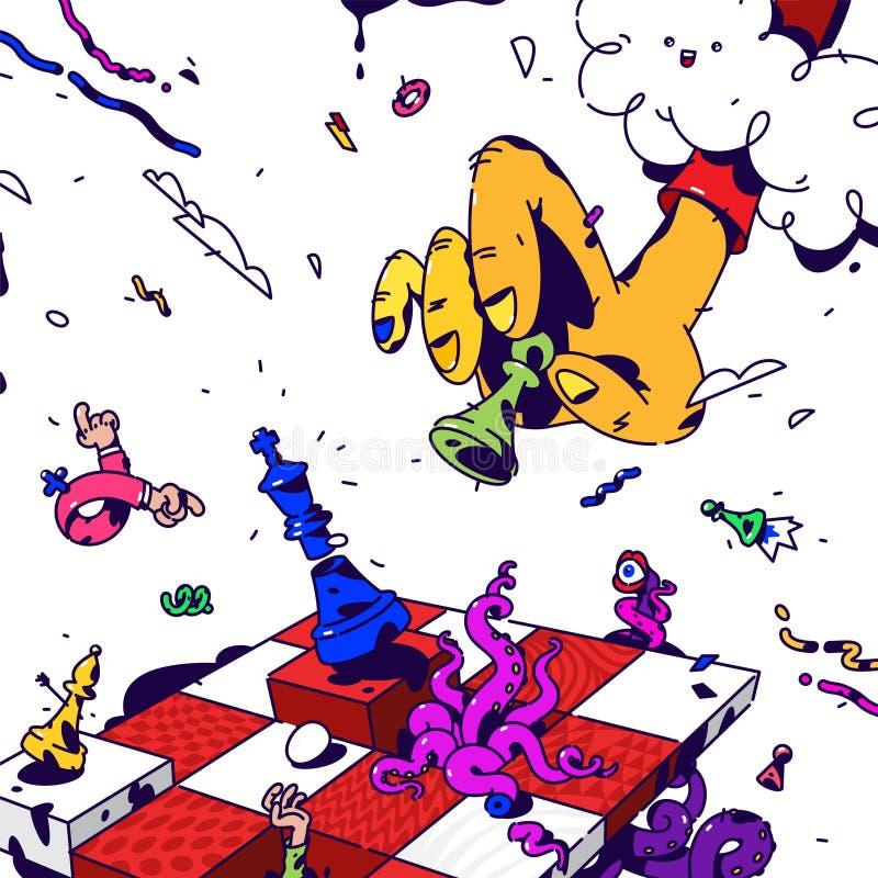 Psychodeliczna ilustracja o szachy wektor Nadrealistyczny obrazek na temacie zarządzanie i biznes Gra szachy rysujący royalty ilustracja