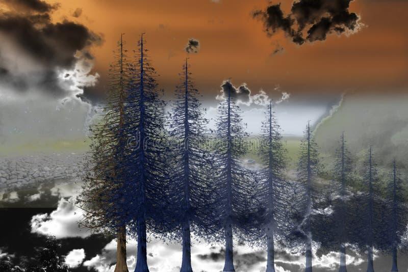Psychodeliczna krajobrazowa ilustracja ilustracja wektor