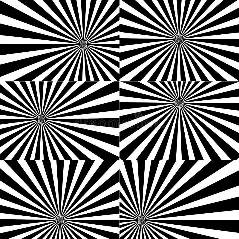 Psychodeliczna spirala z promieniowymi promieniami, twirl, kręcony komiczny skutek, vortex tła - wektoru set royalty ilustracja