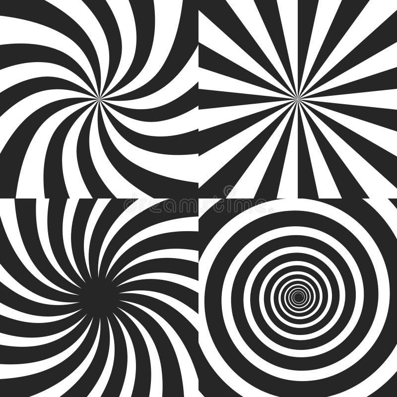 Psychodeliczna spirala z promieniowymi promieniami, twirl, kręcony komiczny skutek, vortex tła - wektoru set ilustracji