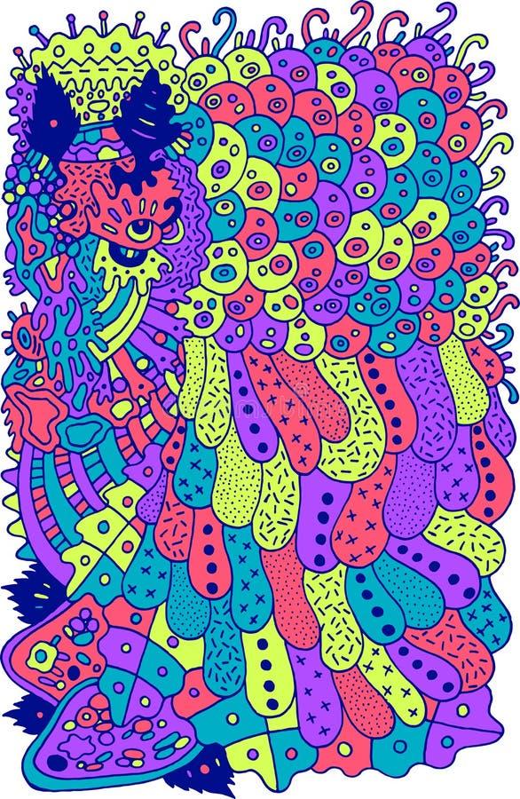 Psychodelicznej kreskówki abstrakcjonistyczny doodle Atramentu Kreskowy rysunek Kolorowa surrealistyczna sztuka dla majcherów, pr ilustracji