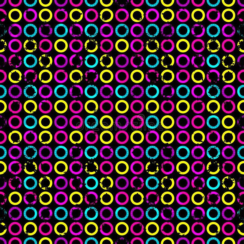 Psychodeliczni okręgi na czarnym tła grunge wykonują bezszwowego geometrycznego tło royalty ilustracja