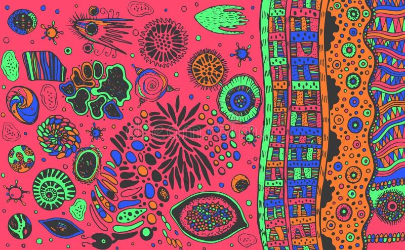 Psychodeliczny abstrakcjonistyczny kolorowy abstrakcjonistyczny nakreślenie Surrealistyczny dziwny kreskowy tło R??owy t?o r?wnie ilustracji