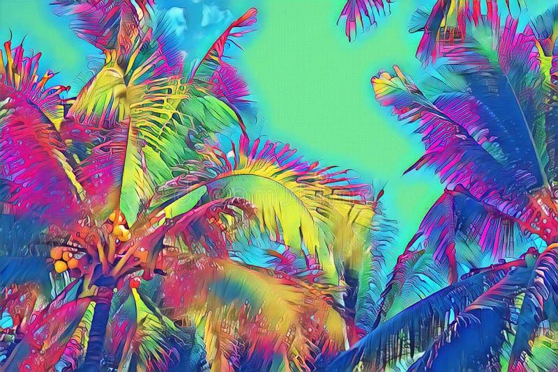 Psychodeliczny coco palmowy liść na żywym nieba tle Tropikalnej natury cyfrowa ilustracja Egzotyczny wyspa krajobraz ilustracji