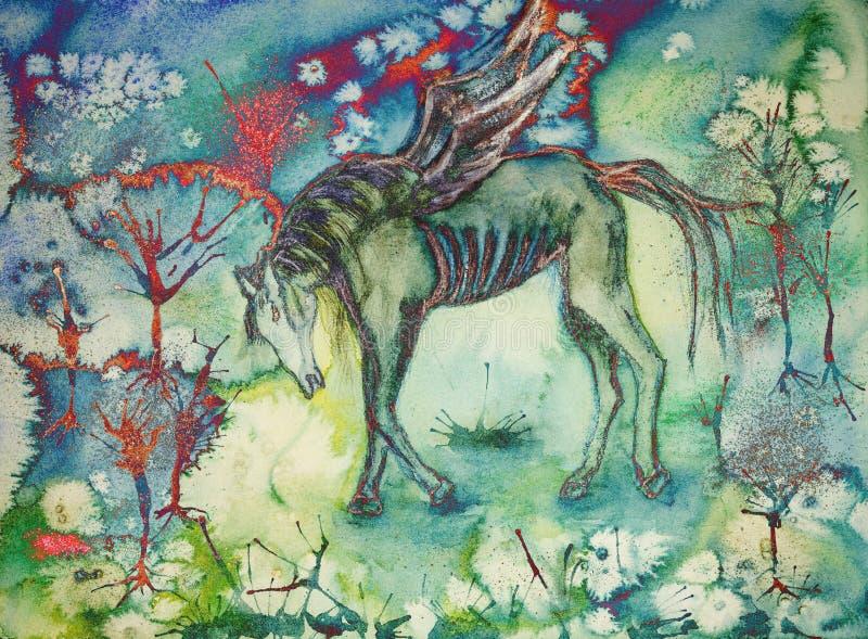 Psychodeliczny koń w desolated krajobrazie ilustracja wektor