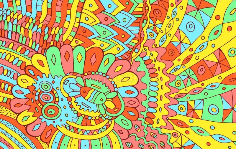 Psychodeliczny kolorowy abstrakcjonistyczny tło Doodle deseniowy rysunek Plemienna tekstura z kwiatami r?wnie? zwr?ci? corel ilus royalty ilustracja