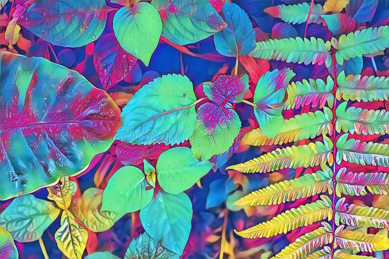 Psychodeliczny paprociowy liścia i rośliny zbliżenie Lasowa podłogowa kolorowa cyfrowa ilustracja Neonowa paproć opuszcza natural fotografia royalty free