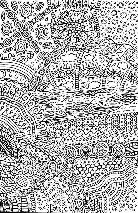 Psychodeliczny surrealistyczny fantastyczny abstrakcjonistyczny doodle wzór Plemienny ca royalty ilustracja