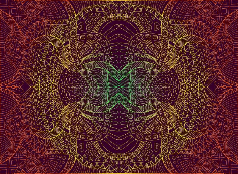 Psychodeliczny trippy kolorowy fractal mandala, gradientowy jaskrawy koloru kontur na ciemnego brązu tle, element dekoracyjny royalty ilustracja