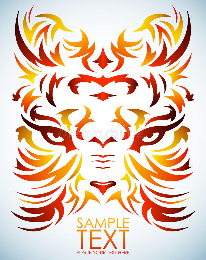 Psychodeliczny tygrysi wektor oczy - tatuaż -  ilustracja wektor